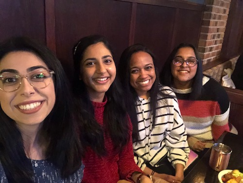 Four M4 students collaborated with medical school faculty to feature WMed cases on the Human Diagnosis Platform in August. From left to right: Jasmine Saeedian, Mekala Neelakantan, Katie Jones and Brinda Ryali